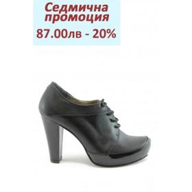 Дамски обувки на висок ток - естествена кожа - черни - EO-2004