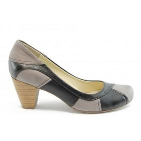 Дамски обувки на среден ток - естествена кожа - черни - EO-2012