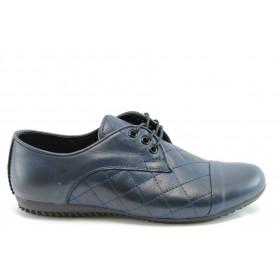 Равни дамски обувки - естествена кожа - сини - EO-2054