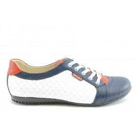 Равни дамски обувки - естествена кожа - сини - EO-2056