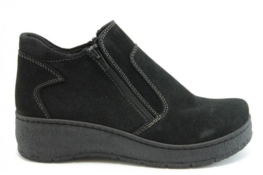 Дамски боти - естествен набук - черни - EO-9305