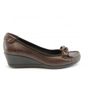 Дамски обувки на платформа - естествена кожа с естествен велур - кафяви - EO-2059