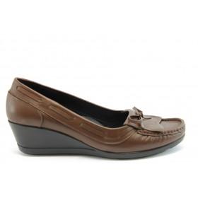 Дамски обувки на платформа - естествена кожа - кафяви - EO-2060