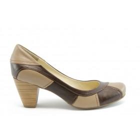 Дамски обувки на среден ток - естествена кожа - кафяви - EO-2109