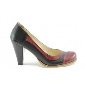 Дамски обувки на висок ток - естествена кожа - черни - EO-2103