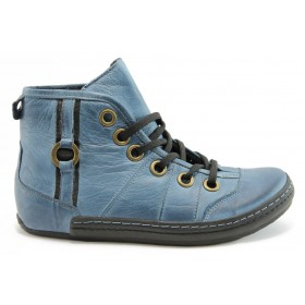 Дамски боти - естествена кожа - сини - EO-2146