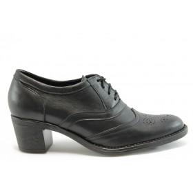 Дамски обувки на среден ток - естествена кожа - черни - EO-2143