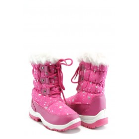Детски ботуши - еко-кожа с текстил - розови - EO-2736
