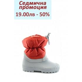 Детски ботуши - висококачествен pvc материал и текстил - червени - EO-1671