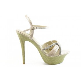 Дамски сандали - сатен - бежови - EO-667
