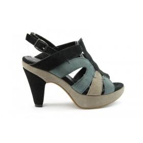 Дамски сандали - естествен велур - черни - EO-670