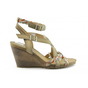 Дамски сандали - естествена кожа - бежови - EO-685