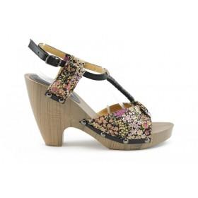 Дамски сандали - еко-кожа с текстил - черни - EO-689