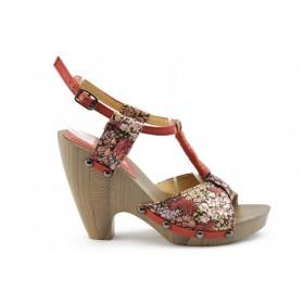 Дамски сандали - еко-кожа с текстил - червени - EO-690