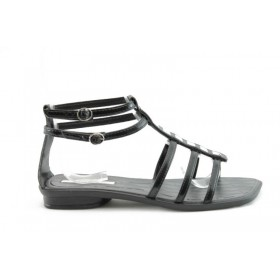 Дамски сандали - еко кожа-лак - черни - EO-713