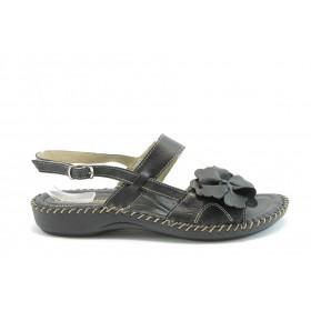 Дамски сандали - естествена кожа - черни - EO-1475