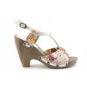 Дамски сандали - еко-кожа с текстил - бели - EO-688