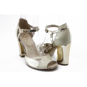 Дамски сандали - естествена кожа-лак - бежови - EO-3022