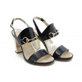 Дамски сандали - естествена кожа-лак - черни - EO-3026