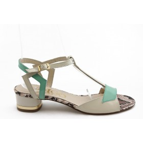 Дамски сандали - естествена кожа-лак - зелени - EO-3025