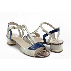 Дамски сандали - естествена кожа-лак - сини - EO-3020