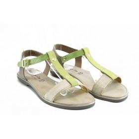 Дамски сандали - естествена кожа с естествен велур - зелени - EO-3029