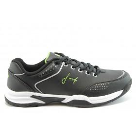 Спортни мъжки обувки - висококачествена еко-кожа - черни - EO-1890