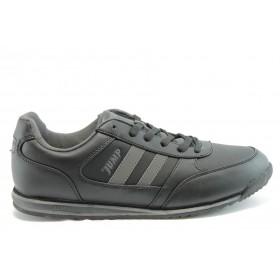 Спортни мъжки обувки - еко-кожа - черни - EO-1889