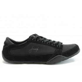 Спортни мъжки обувки - еко-кожа с текстил - черни - EO-1880