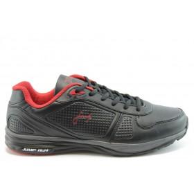Спортни мъжки обувки - еко-кожа - черни - EO-1888