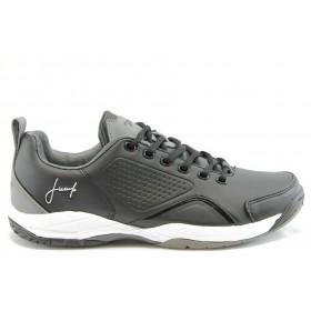 Спортни мъжки обувки - еко-кожа - черни - EO-2034