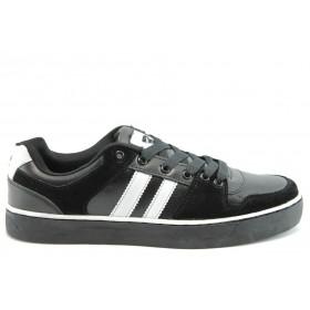 Спортни мъжки обувки - еко-кожа - черни - EO-2070
