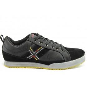 Спортни мъжки обувки - естествена кожа с естествен велур - черни - EO-2068