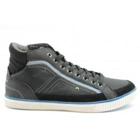 Спортни мъжки обувки - еко-кожа - черни - EO-2020