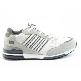 Спортни мъжки обувки - еко-кожа с текстил - бежови - EO-764