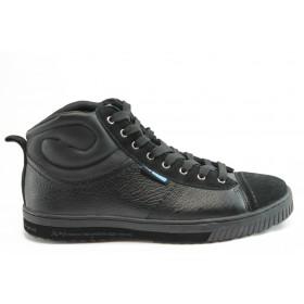 Спортни мъжки обувки - еко-кожа - черни - EO-4747
