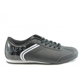 Равни дамски обувки - еко кожа-лак - черни - EO-3008
