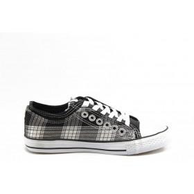 Спортни мъжки обувки - висококачествен pvc материал и текстил - черни - EO-2782
