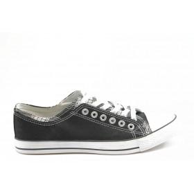 Спортни мъжки обувки - висококачествен pvc материал и текстил - черни - EO-2769
