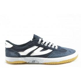 Спортни мъжки обувки - естествен велур - сини - EO-5962