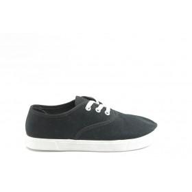Равни дамски обувки - висококачествен текстилен материал - черни - EO-2845