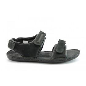Мъжки сандали - естествен набук - черни - EO-1068