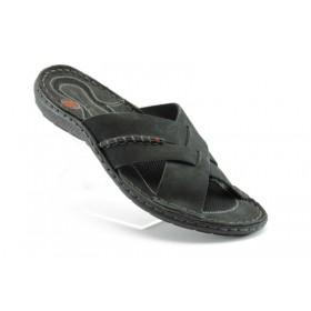 Мъжки чехли - естествена кожа - черни - EO-1083