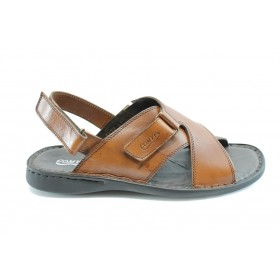 Мъжки сандали - естествена кожа - светлокафяв - EO-1391