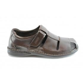 Мъжки сандали - естествена кожа - тъмнокафяв - EO-6355