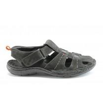 Мъжки сандали - естествена кожа - черни - EO-1404