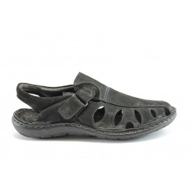 Мъжки сандали - естествена кожа - черни - EO-1405