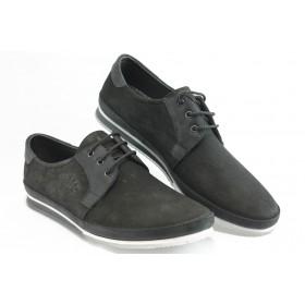 Мъжки обувки - естествен набук - черни - EO-3027