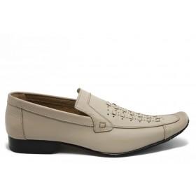 Мъжки обувки - естествена кожа - бежови - EO-3129