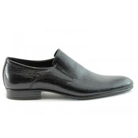 Мъжки обувки - естествена кожа-лак - черни - EO-59
